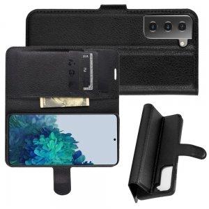Чехол книжка для Samsung Galaxy S21 Plus / S21+ отделения для карт и подставка Черный