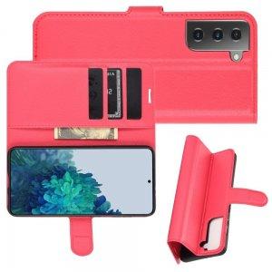 Чехол книжка для Samsung Galaxy S21 Plus / S21+ отделения для карт и подставка Красный