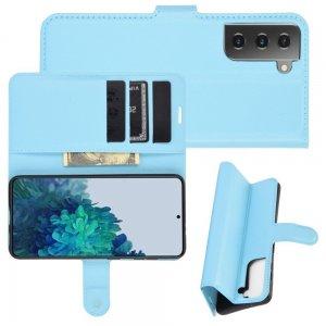 Чехол книжка для Samsung Galaxy S21 Plus / S21+ отделения для карт и подставка Синий