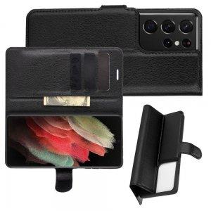 Чехол книжка для Samsung Galaxy S21 Ultra отделения для карт и подставка Черный