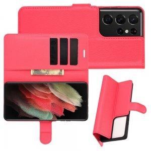 Чехол книжка для Samsung Galaxy S21 Ultra отделения для карт и подставка Красный
