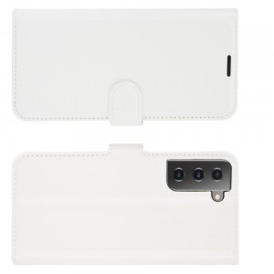 Чехол книжка для Samsung Galaxy S21 отделения для карт и подставка Белый