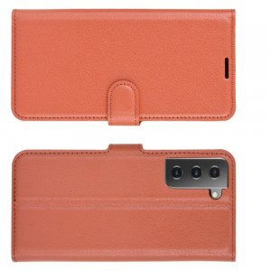 Чехол книжка для Samsung Galaxy S21 отделения для карт и подставка Коричневый