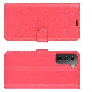 Чехол книжка для Samsung Galaxy S21 отделения для карт и подставка Красный