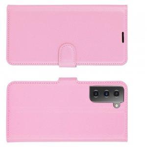 Чехол книжка для Samsung Galaxy S21 отделения для карт и подставка Розовый