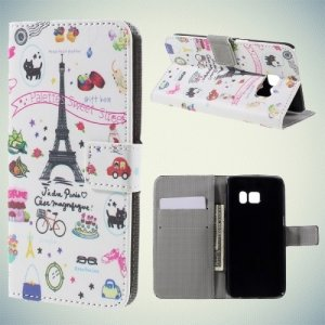 Чехол книжка для Samsung Galaxy S7 - с рисунком Париж