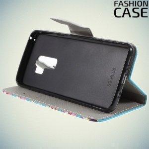 Чехол книжка для Samsung Galaxy S9 Plus - с рисунком Совы