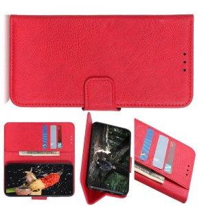 Чехол книжка для Sony Xperia 1 II отделения для карт и подставка Красный