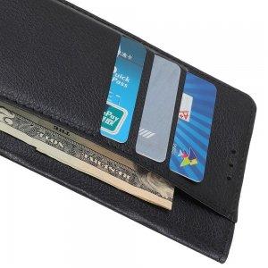 Чехол книжка для Sony Xperia 10 II отделения для карт и подставка Черный