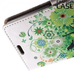 Чехол книжка для Sony Xperia XA - с рисунком Зеленое дерево счастья