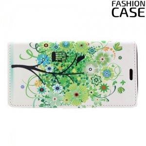 Чехол книжка для Sony Xperia XZ Premium - с рисунком Дерево счастья