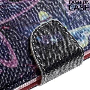 Чехол книжка для Sony Xperia XZ / XZs - с рисунком Бабочки на чёрном