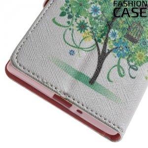 Чехол книжка для Sony Xperia XZ / XZs - с рисунком Дерево счастья