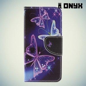 Чехол книжка для Sony Xperia XZ1 Compact - Бабочки на чёрном