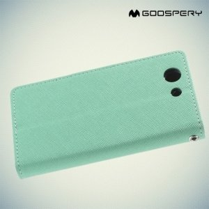 Чехол книжка для Sony Xperia Z3 Compact D5803 Mercury Goospery - Бирюзовый