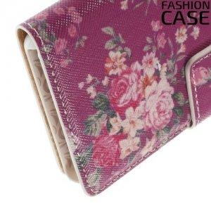 Чехол книжка для Sony Xperia Z3 Compact D5803 - с рисунком Розы на розовом