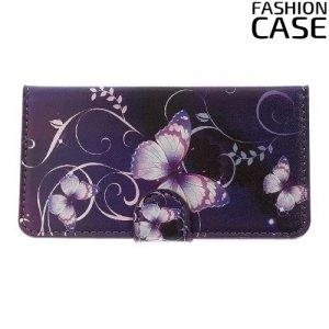 Чехол книжка для Sony Xperia Z3 Compact D5803 - с рисунком Бабочки на фиолетовом