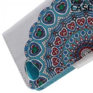 Чехол книжка для Sony Xperia Z5 Compact E5823 - с рисунком Синие узоры