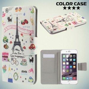 Чехол книжка для телефона 5.2-5.5 дюйма универсальный с рисунком - Париж