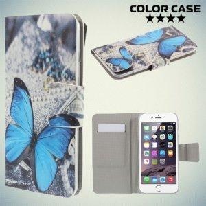 Чехол книжка для телефона 5.2-5.5 дюйма универсальный с рисунком - Бабочки на чёрном