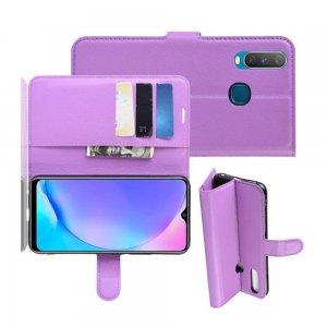 Чехол книжка для Vivo Y17 / Y15 / Y12 отделения для карт и подставка Фиолетовый