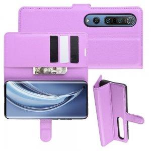 Чехол книжка для Xiaomi Mi 10 / Mi 10 Pro / 10 Pro отделения для карт и подставка Фиолетовый