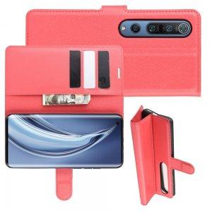 Чехол книжка для Xiaomi Mi 10 / Mi 10 Pro / 10 Pro отделения для карт и подставка Красный