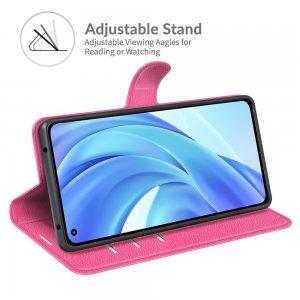 Чехол книжка для Xiaomi Mi 11 Lite отделения для карт и подставка Розовый