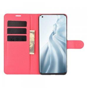 Чехол книжка для Xiaomi Mi 11 отделения для карт и подставка Красный