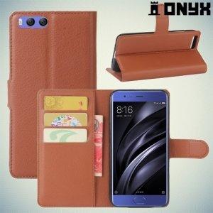 Чехол книжка для Xiaomi Mi 6 - Коричневый