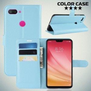 Чехол книжка для Xiaomi Mi 8 Lite - Голубой