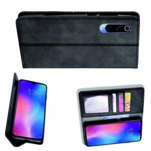 Чехол книжка для Xiaomi Mi 9 lite с магнитом и отделением для карты - Черный