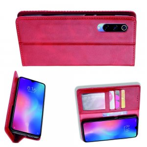 Чехол книжка для Xiaomi Mi 9 lite с магнитом и отделением для карты - Красный