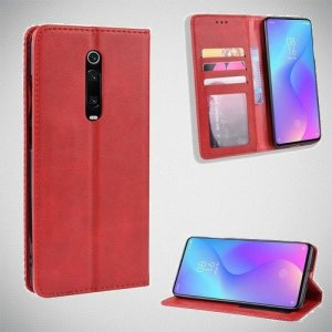 Чехол книжка для Xiaomi Mi 9T с магнитом и отделением для карты - Красный