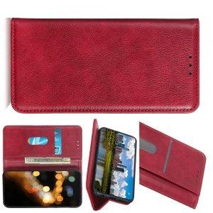 Чехол книжка для Xiaomi Mi A3 с магнитом и отделением для карты - Красный