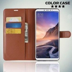 Чехол книжка для Xiaomi Mi Max 3 - Коричневый