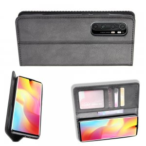 Чехол книжка для Xiaomi Mi Note 10 Lite с магнитом и отделением для карты - Черный
