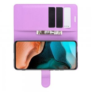 Чехол книжка для Xiaomi Poco F2 Pro отделения для карт и подставка Фиолетовый