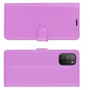 Чехол книжка для Xiaomi Poco M3 отделения для карт и подставка Фиолетовый