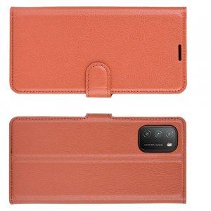 Чехол книжка для Xiaomi Poco M3 отделения для карт и подставка Коричневый