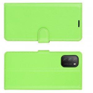 Чехол книжка для Xiaomi Poco M3 отделения для карт и подставка Зеленый