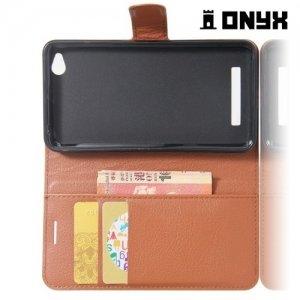 Чехол книжка для Xiaomi Redmi 4A - Коричневый