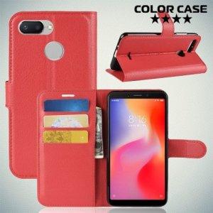Чехол книжка для Xiaomi Redmi 6 - Красный