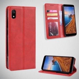 Чехол книжка для Xiaomi Redmi 7A с магнитом и отделением для карты - Красный