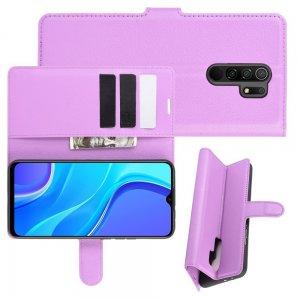 Чехол книжка для Xiaomi Redmi 9 отделения для карт и подставка Фиолетовый