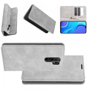 Чехол книжка для Xiaomi Redmi 9 с магнитом и отделением для карты - Серый