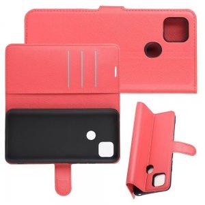 Чехол книжка для Xiaomi Redmi 9C отделения для карт и подставка Красный