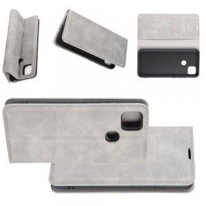 Чехол книжка для Xiaomi Redmi 9C с магнитом и отделением для карты - Серый
