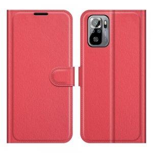 Чехол книжка для Xiaomi Redmi Note 10 отделения для карт и подставка Красный