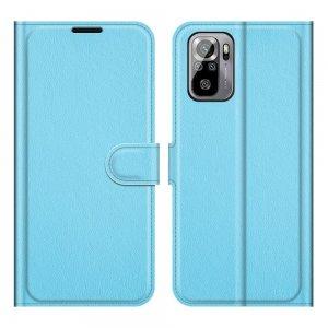 Чехол книжка для Xiaomi Redmi Note 10 отделения для карт и подставка Синий